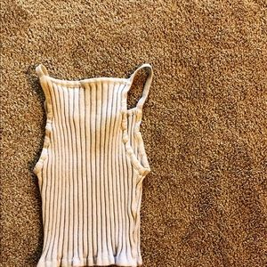 Beige Ribbed Halter Crop Top